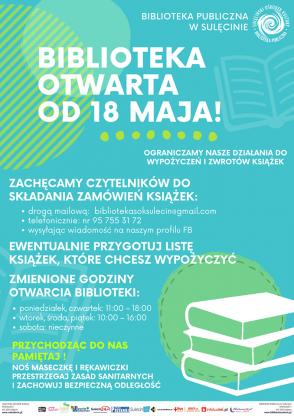 Otwarcie Biblioteki Publicznej w Sulęcinie! Nowe zasady korzystania z biblioteki.